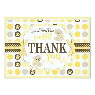 Adorable Teddy Bears Thank You Card Yellow