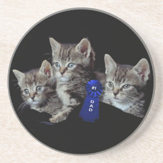 Adorable Three Little Kittens Father's Day Design Sandstone Coaster