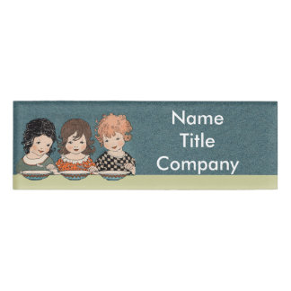 Adorable Three Little Vintage Girls With Soup Bowl Name Tag