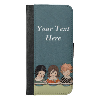 Adorable Three Vintage Little Girls Eating Soup iPhone 6/6s Plus Wallet Case