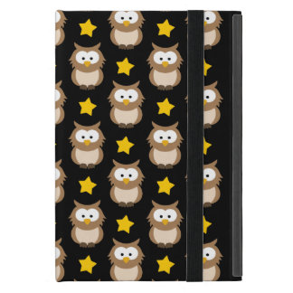 Adorable Tree Owls And Golden Stars On Black Cover For iPad Mini