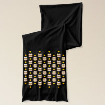 Adorable Tree Owls And Golden Stars On Black Scarf