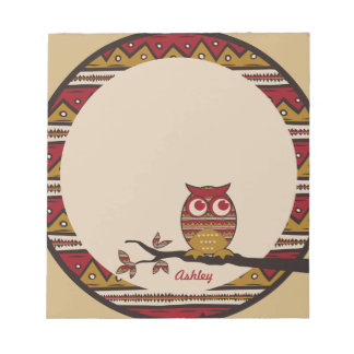 Adorable Tribal Pattern Owl Branch Moon Leaves Memo Note Pad