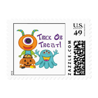 Adorable Trick or Treat Silly Monsters Tees, Gifts Postage Stamp