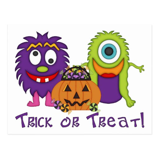 Adorable Trick or Treat Silly Monsters Tees, Gifts Postcard