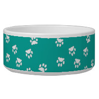 Adorable Turquoise White Paw Print Large Dog Bowl