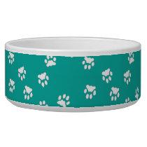 Adorable Turquoise White Paw Print Large Dog Bowl