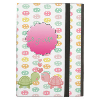 Adorable Turtles In Love On Colorful Buttons iPad Air Cover
