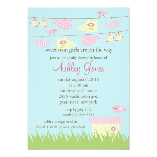 Adorable Twin Girls Clothesline Baby Shower Card