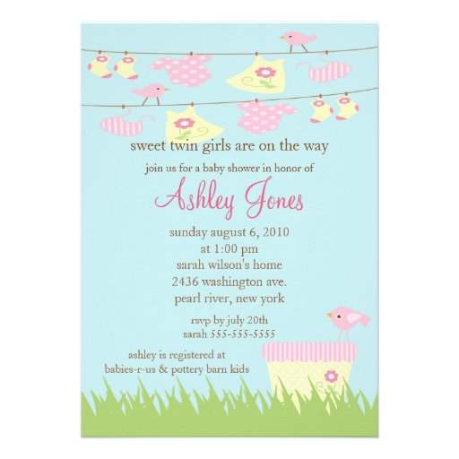 adorable twin girls clothesline baby shower 5x7 paper invitation card