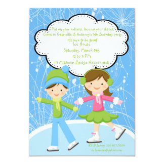 Adorable Twins Ice Skating Birthday Invitation