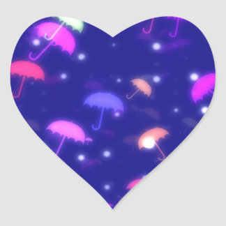 Adorable Umbrella Galaxy Print - Neon Colors Heart Sticker