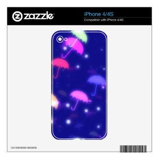 Adorable Umbrella Galaxy Print - Neon Colors iPhone 4S Decal
