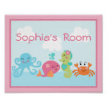 Adorable Under the Sea Pink/Girl Poster/Print Poster