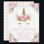 """Adorable Unicorn Face Baby Shower Invitations<br><div class=""""desc"""">Unicorn face baby shower invitations with pink and gold floral unicorn face with pretty gold eyelashes and pink and gold floral horn on a beautiful pink and gold background. These adorable unicorn baby shower invitations are easily customized for your event by simply adding your details. You can also change the...</div>"""