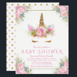 "Adorable Unicorn Face Baby Shower Invitations<br><div class=""desc"">Unicorn face baby shower invitations with pink and gold floral unicorn face with pretty gold eyelashes and pink and gold floral horn on a beautiful pink and gold background. These adorable unicorn baby shower invitations are easily customized for your event by simply adding your details. You can also change the...</div>"