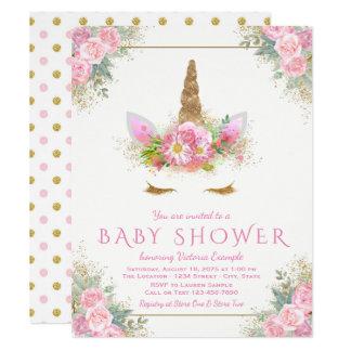Adorable Unicorn Face Baby Shower Invitations