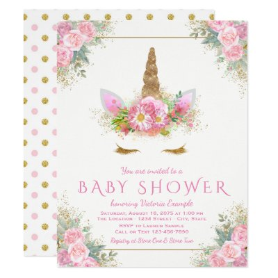 unicorn baby shower invitation pink and gold | zazzle, Baby shower invitations