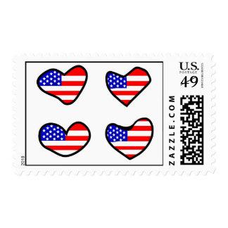 Adorable USA Flag Hearts Postage Stamps