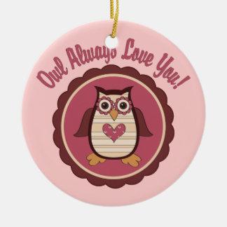 Adorable Valentine Owl - Owl Always Love You Ceramic Ornament