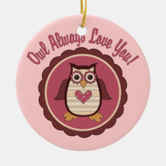 Adorable Valentine Owl - Owl Always Love You Double-Sided Ceramic Round Christmas Ornament