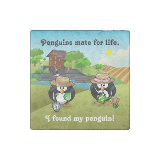Adorable Vegetable Farmer Gardener Penguin Couple Stone Magnet