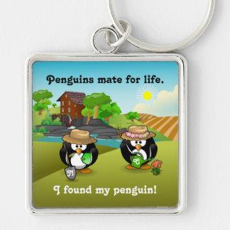 Adorable Vegetable Farmer Gardener Penguin Couple Keychain