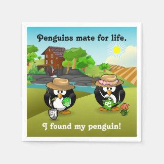 Adorable Vegetable Farmer Gardener Penguin Couple Standard Cocktail Napkin