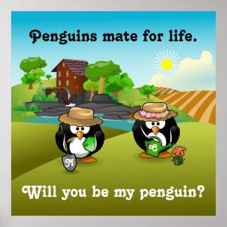 Adorable Vegetable Farmer Gardener Penguin Couple Print