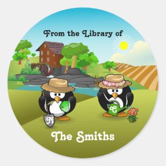 Adorable Vegetable Farmer Gardener Penguin Couple Round Stickers