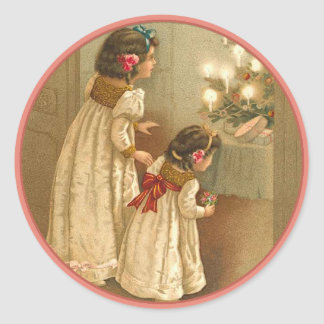 Adorable Victorian Illustration of Two Girls Classic Round Sticker