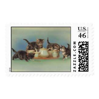 Adorable Victorian Kitties stamp