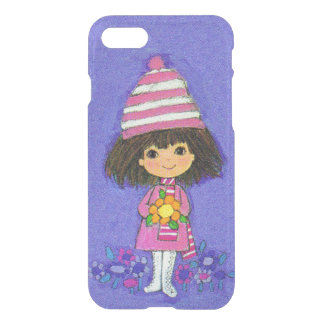 Adorable Vintage 1960s Girl in Pink With Flowers iPhone 8/7 Case