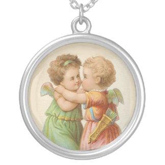 Adorable Vintage Angels Art Necklace