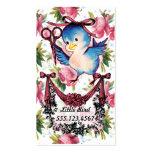 Adorable vintage bird scissors hair stylist floral business cards