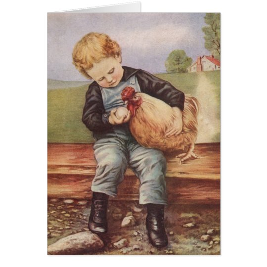 Adorable Vintage Boy and Chicken Card