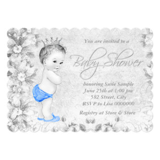 Adorable Vintage Boys Blue and Gray Baby Shower Card
