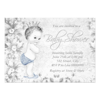 Adorable Vintage Boys Blue and Gray Baby Shower Custom Invitation