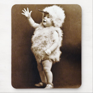 Adorable Vintage Chicken Suit Girl Baby Sepia Mouse Pad