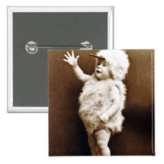 Adorable Vintage Chicken Suit Girl Baby Sepia Pinback Button