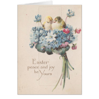 Adorable Vintage Easter Birds and Flowers Card