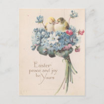 Adorable Vintage Easter Birds and Flowers Holiday Postcard