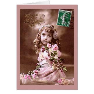 Adorable Vintage French Girl Portrait Card