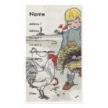 Adorable Vintage Girl with Chickens Double-Sided Standard Business Cards (Pack Of 100)