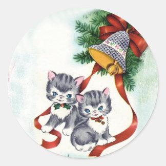 Adorable Vintage Illustration of Kittens Sticker