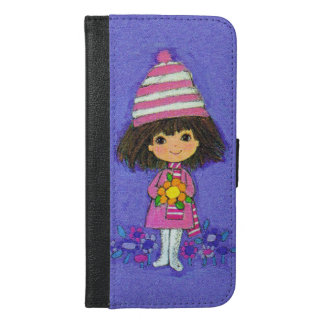 Adorable Vintage Little Girl in Pink Flowers iPhone 6/6s Plus Wallet Case