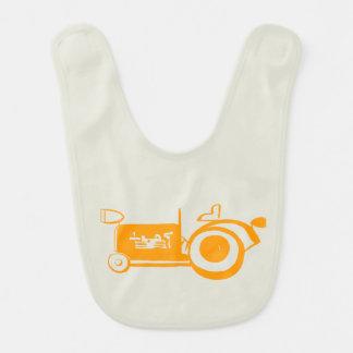 Adorable Vintage Orange Tractor Baby Bib