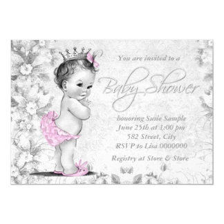 Adorable Vintage Pink and Gray Baby Shower 5x7 Paper Invitation Card