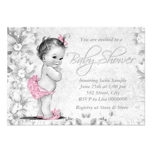 Adorable Vintage Pink and Gray Baby Shower Custom Invitation