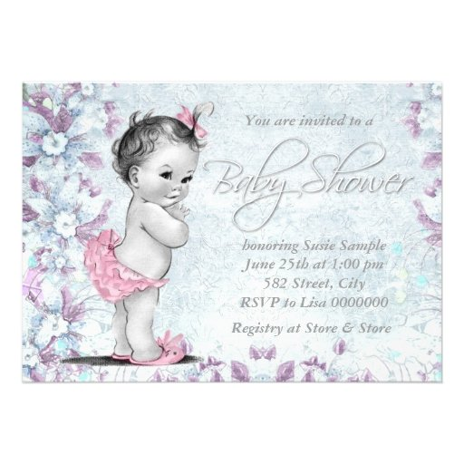 Adorable Vintage Pink and Purple Baby Shower Custom Announcements